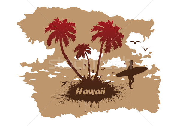 vector Sunny beach with palm surfer in Hawaii Stock photo © Panaceadoll