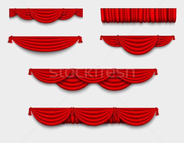 向量 紅色 絲綢 窗簾 陰影 背景 商業照片 © Panaceadoll