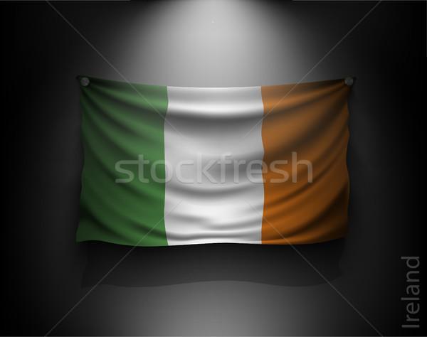 Integet zászló sötét fal reflektor megvilágított Stock fotó © Panaceadoll