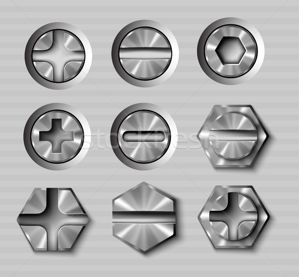 vector set of metal bolts and screws Stock photo © Panaceadoll