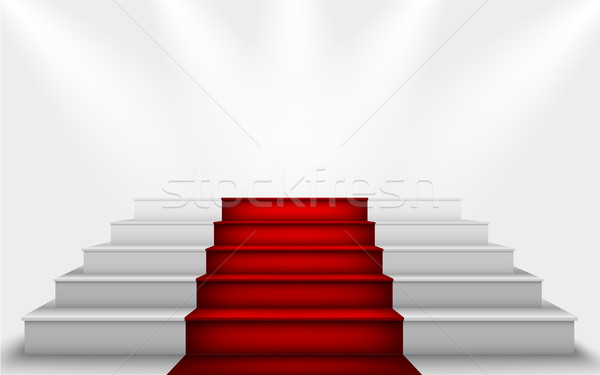 silk curtain and the stairs to the podium with a red carpet Stock photo © Panaceadoll