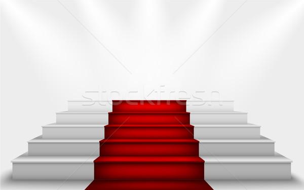 Zijde gordijn trap podium rode loper partij Stockfoto © Panaceadoll