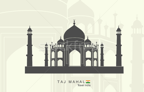 Photo stock: Illustration · isolé · Taj · Mahal · Inde · résumé · art