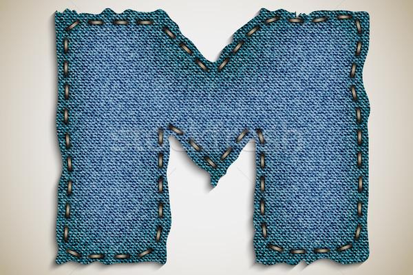Denim brief alfabet textuur jeans vector Stockfoto © Panaceadoll