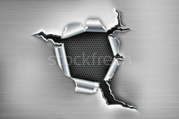 Buco metal sfondo bullet crack taglio Foto d'archivio © Panaceadoll