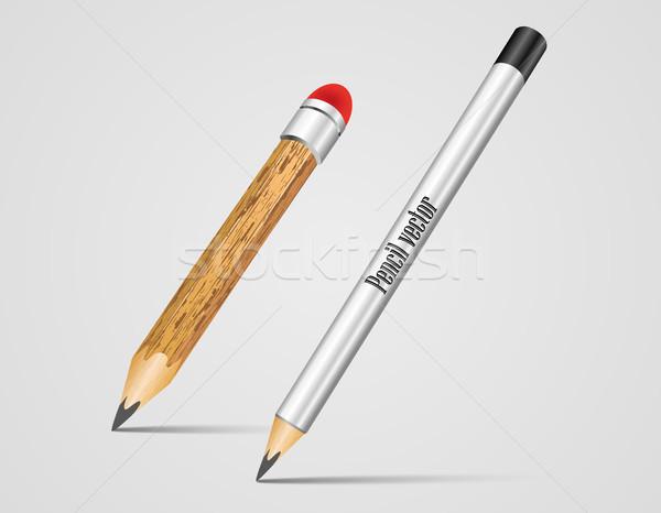 現実的な 銀 木材 ベクトル 鉛筆 オフィス ストックフォト © Panaceadoll