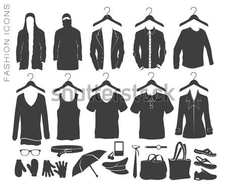 ベクトル セット ファッション アイコン 服 シルエット ストックフォト © Panaceadoll