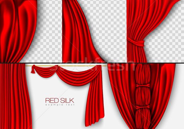 Vetor vermelho seda cortina sombras fundo Foto stock © Panaceadoll