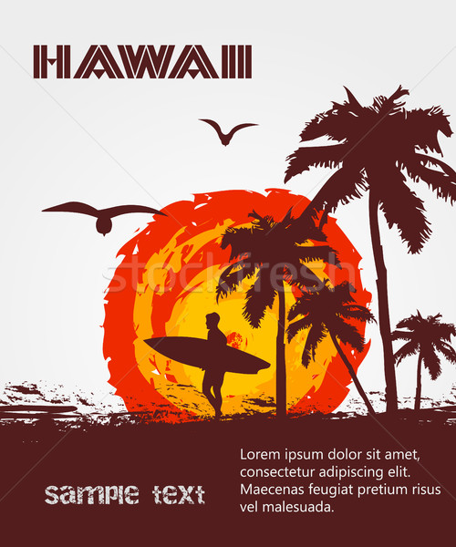 Vector zonnige strand palm surfer Hawaii Stockfoto © Panaceadoll