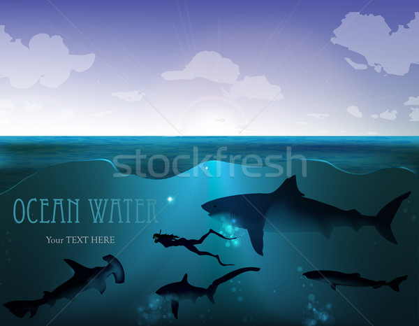 Illustraiton of underwater background with light rays Stock photo © Panaceadoll