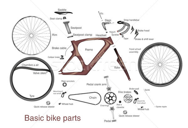 Stock photo: infographic of the main bike parts with the names