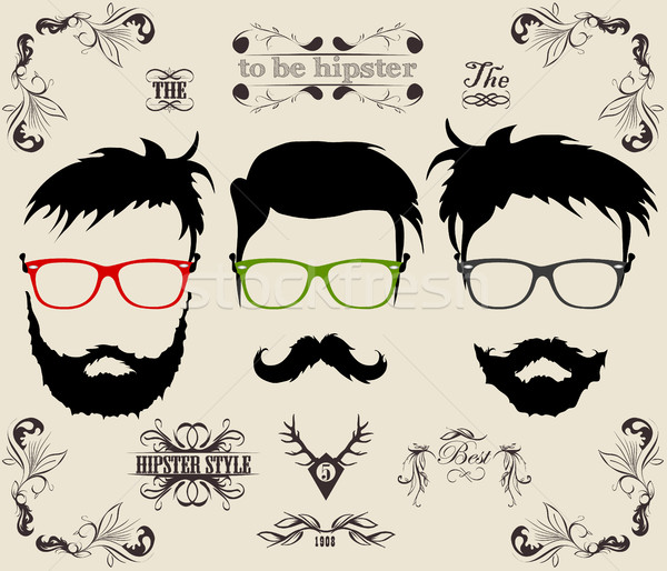 hairstyles with a beard and mustache Stock photo © Panaceadoll