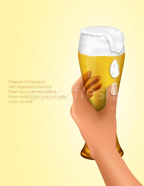 Kéz tart üveg világos sör víz sör Stock fotó © Panaceadoll
