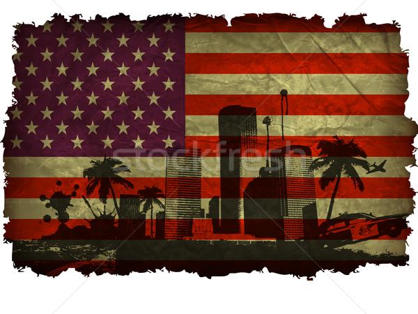 Bandeira EUA país sombra projeto terra Foto stock © Panaceadoll