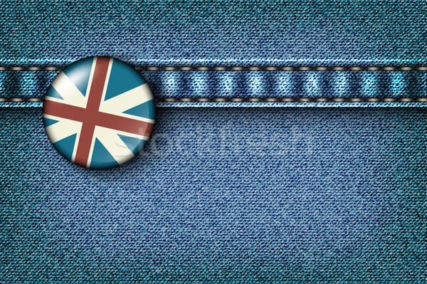 Badge with the UK flag on the jeans texture Stock photo © Panaceadoll
