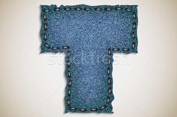 Denim letter alphabet texture jeans. vector Stock photo © Panaceadoll