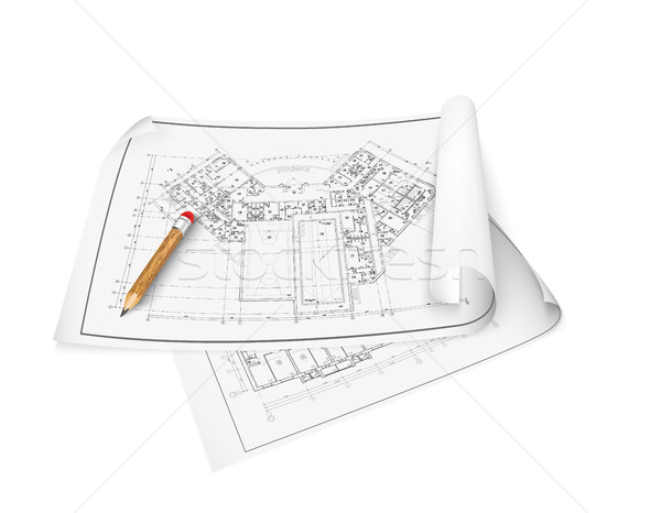 Architectural background. Part of architectural project, architectural plan Stock photo © Panaceadoll