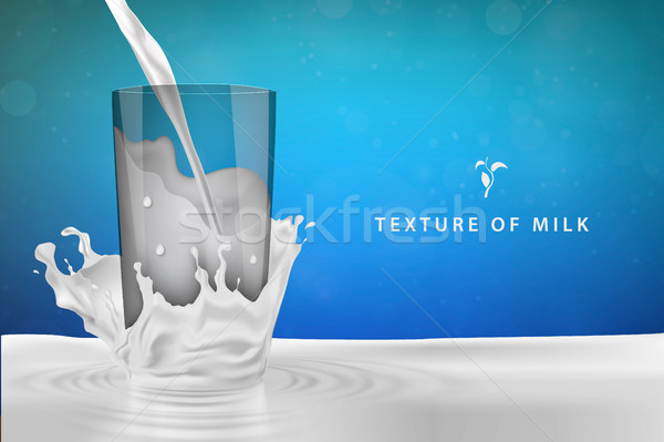 Pouring milk in a blue background. Vector illustration. Stock photo © Panaceadoll