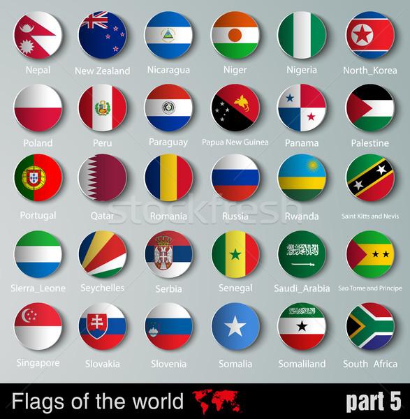 Vector vlaggen alle landen schaduwen ontwerp Stockfoto © Panaceadoll