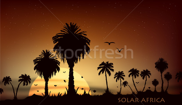 Сток-фото: Восход · саванна · африканских · животные · деревья · небе