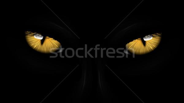 yellow eyes black Panther Stock photo © Panaceadoll