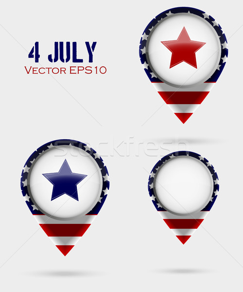 Red Map Markers. 4 July Theme Stock photo © Panaceadoll