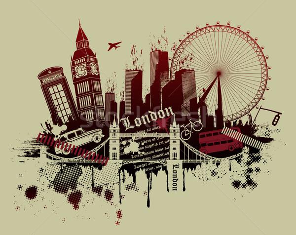 illustration of London landmarks in grunge style Stock photo © Panaceadoll