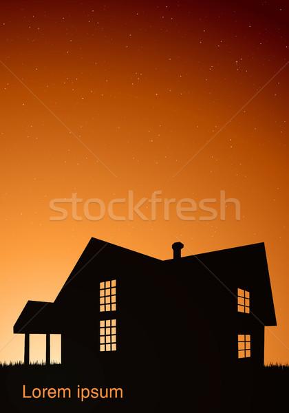 Illustration maison fenêtres noir coucher du soleil ciel Photo stock © Panaceadoll