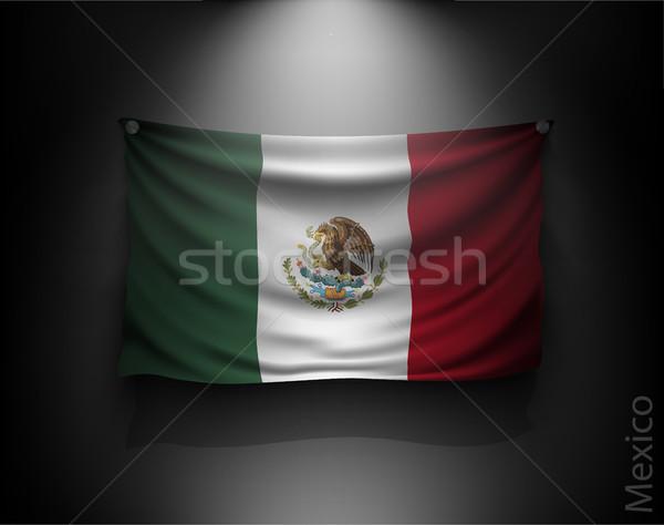Stock foto: Flagge · dunkel · Wand · Rampenlicht · beleuchtet