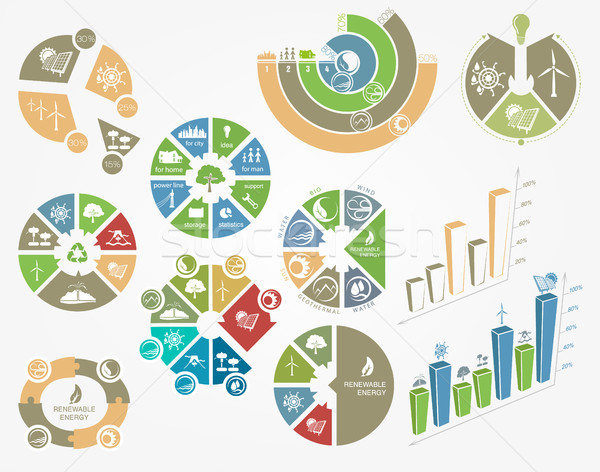 Szett diagramok grafikonok ökológia megújuló energia világ Stock fotó © Panaceadoll