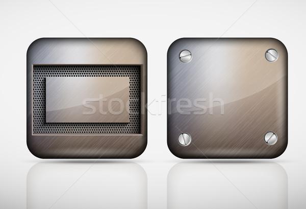 鋼 金属 アプリ アイコン コンピュータ テクスチャ ストックフォト © Panaceadoll