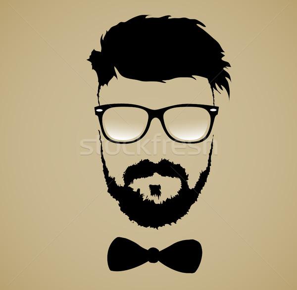 Bıyık sakal gözlük yüz soyut Stok fotoğraf © Panaceadoll