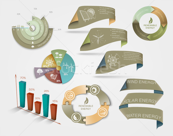 set of diagrams and graphs the concept of ecology and renewable energy Stock photo © Panaceadoll
