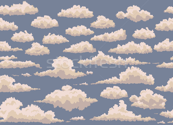 Stock photo: seamless illustration of blue background with vintage clouds