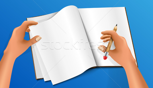 стороны рисунок карандашом правителя Eraser пер Сток-фото © Panaceadoll