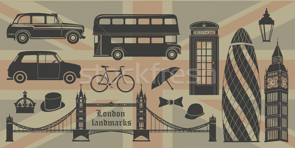 London landmarks Britain symbols isolated Stock photo © Panaceadoll