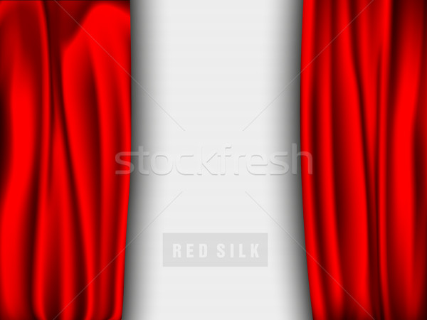 vector red silk curtain with shadows and pelmet Stock photo © Panaceadoll