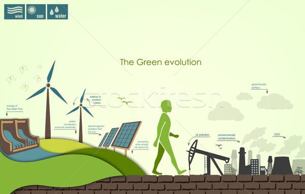 Evrim dünya infographics enerji bitki elektrik Stok fotoğraf © Panaceadoll