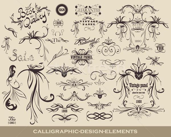 Szett kalligrafikus terv elemek ikonok minőség Stock fotó © Panaceadoll