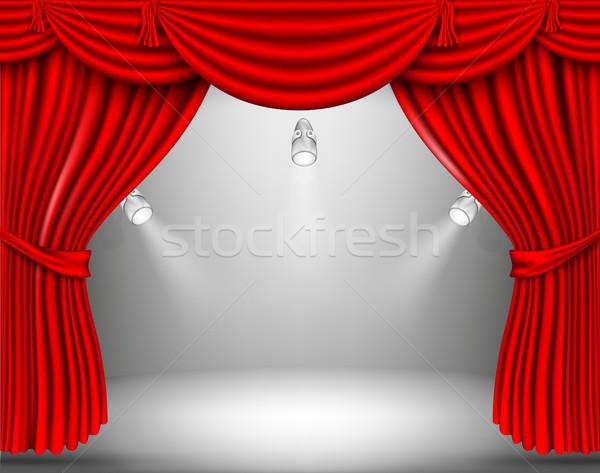 Stock fotó: Vektor · piros · selyem · függöny · árnyékok · háttér
