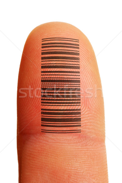Doigt identification empreintes tatouage Barcode Photo stock © pancaketom