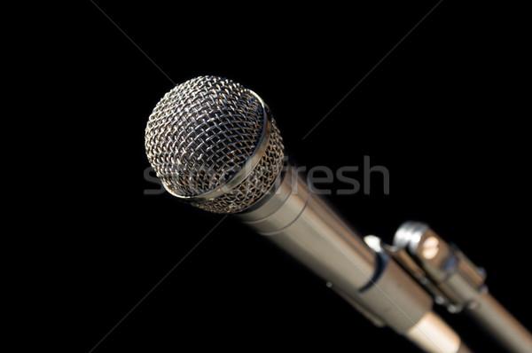 микрофона серебро серый стоять черный музыку Сток-фото © pancaketom