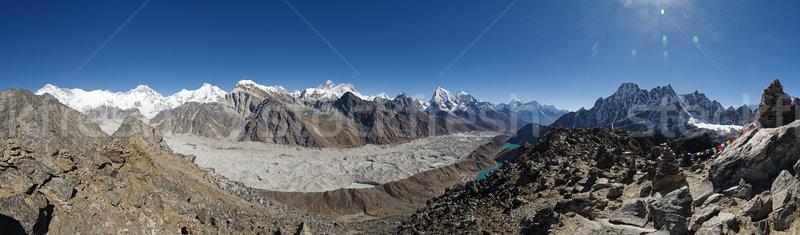 Panorama himalayalar everest dağlar ufuk vadi Stok fotoğraf © pancaketom