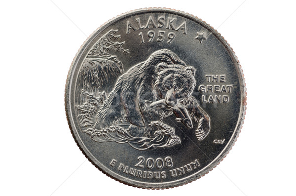 Alaska State Quarter Coin Stock photo © pancaketom