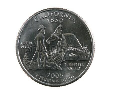 Geïsoleerd Californië kwartaal munt witte zilver Stockfoto © pancaketom