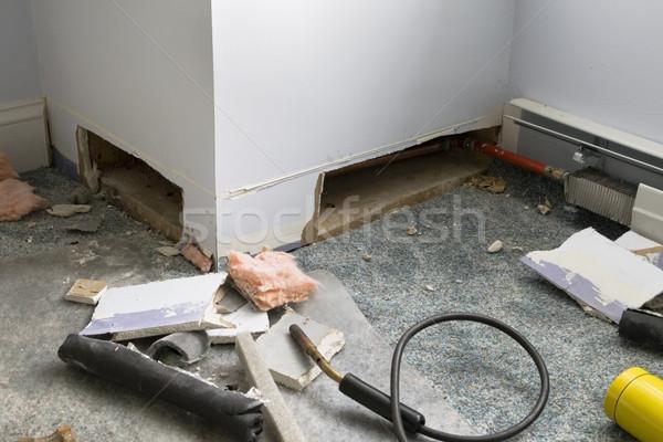 Home verwarming reparatie gipsplaten gesneden vinden Stockfoto © pancaketom