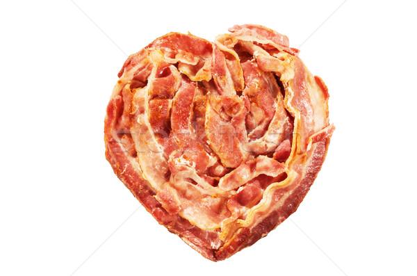 Pancetta cuore cotto a forma di cuore isolato bianco Foto d'archivio © pancaketom