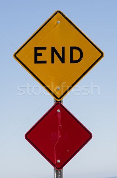 Сток-фото: конец · знак · черный · желтый · улице · подписать · красный