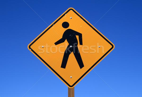 歩行者 にログイン 人 徒歩 黄色 青空 ストックフォト © pancaketom