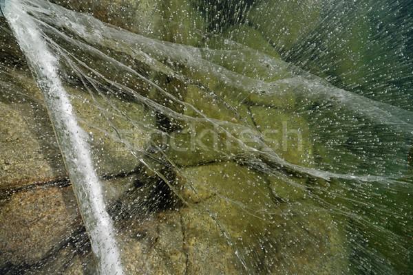 Zamrożone jezioro lodu widoku w dół pęknięty Zdjęcia stock © pancaketom